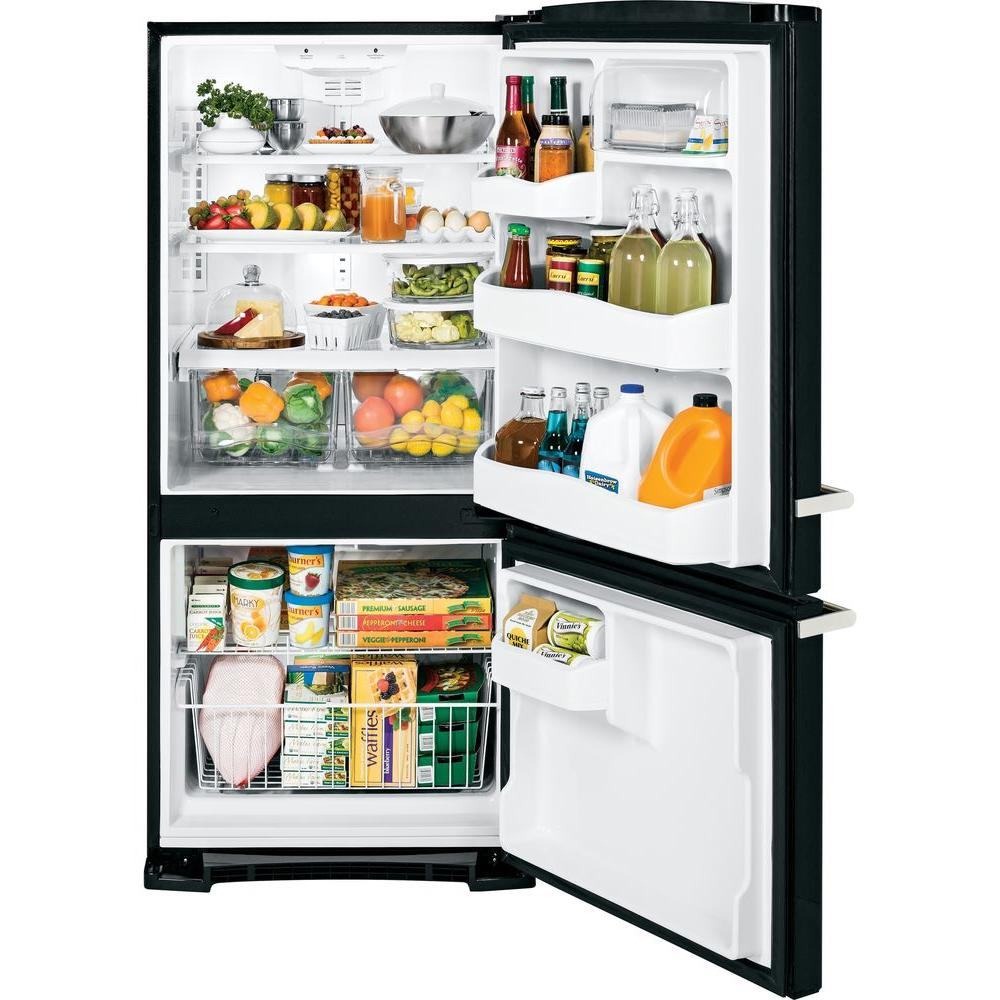 GE Artistry Series 20.3 Cu. Ft. Bottom Freezer Refrigerator Black open