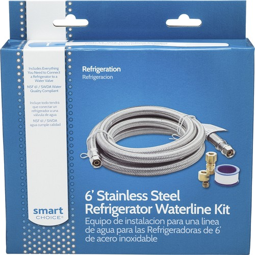 Smart Choice - Stainless-steel Refrigerator Waterline Kit Required For Hook-up - Silver