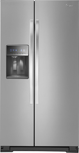 Whirlpool Counter Depth Side By Side Refrigerator With Thru The Door Ice  And Water 21.4 Cu. Ft. Monochromatic Stainless Steel